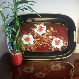 Other - Japanese Black Lacquer Floral Tray